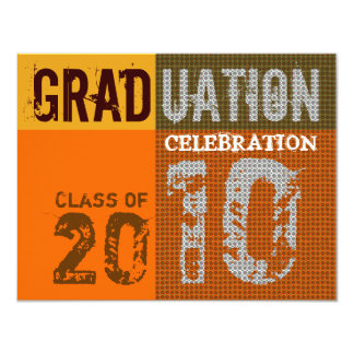 Graduation 2010 Party Orange Brown Invitation