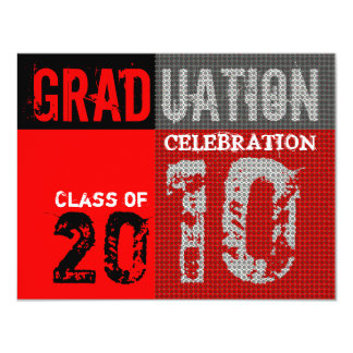 Graduation 2010 Party Red Black White Invitation