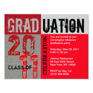 Graduation 2011 Party Invitation Red Grey