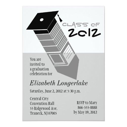 Graduation 2012 Pencil Cap Note Invitation Gray