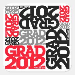 Graduation 2012 Sticker Black Red