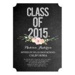Graduation 2015 Thank You Chalkboard Floral 5x7 Paper Invitation Card