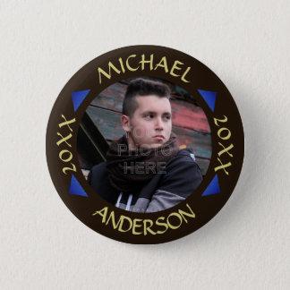 Graduation 2017 | Custom Photo Modern Triangles Pinback Button