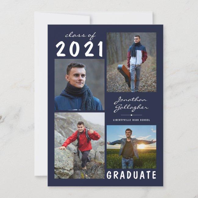 Graduation 2021 5 Photo Handwritten Name Navy Blue Announcement