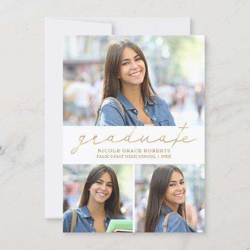 Image Graduation 3-Photo Collage Easy Edit Gold Script Announcement
