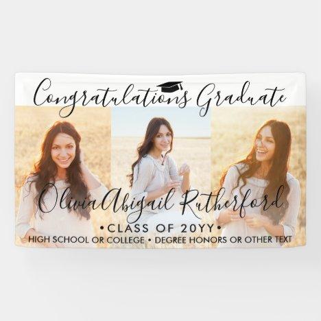 Graduation 3 Photo Collage Simple Black Script Banner