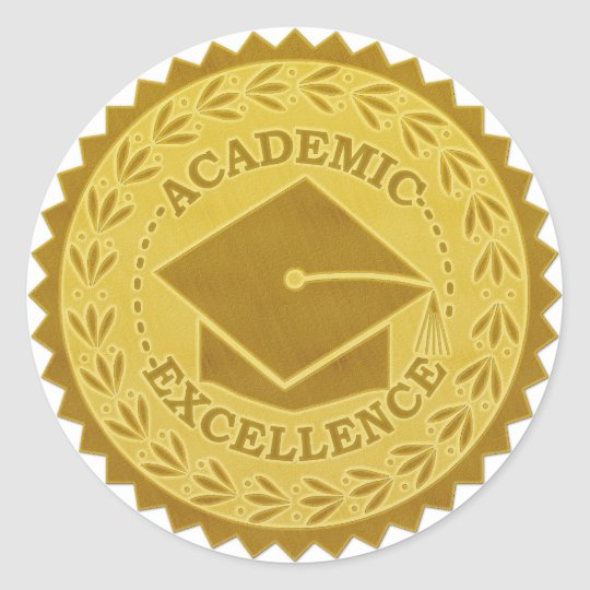 Graduation Academic Excellence Faux Gold Seal | Zazzle.com