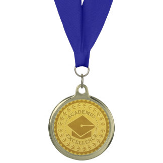 Graduation Academic Excellence Faux Gold Seal Medal