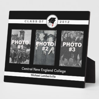 Graduation Add 3 Photo Plaque Basic White