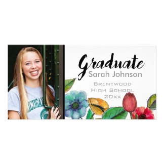 Graduation announcement for girls watercolor