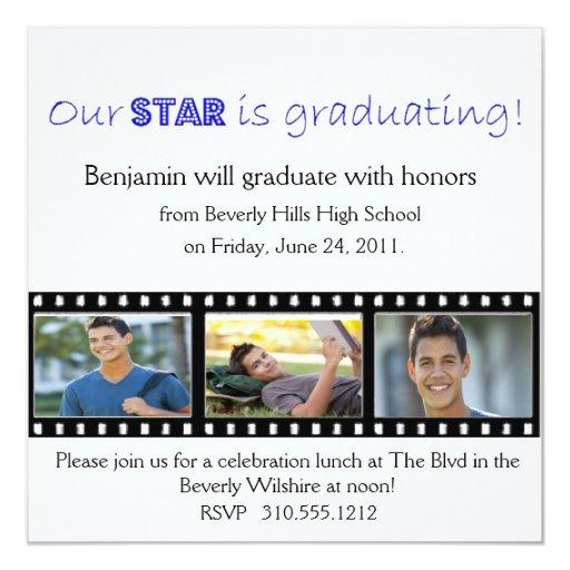 Graduation Announcement Hollywood Star Blue