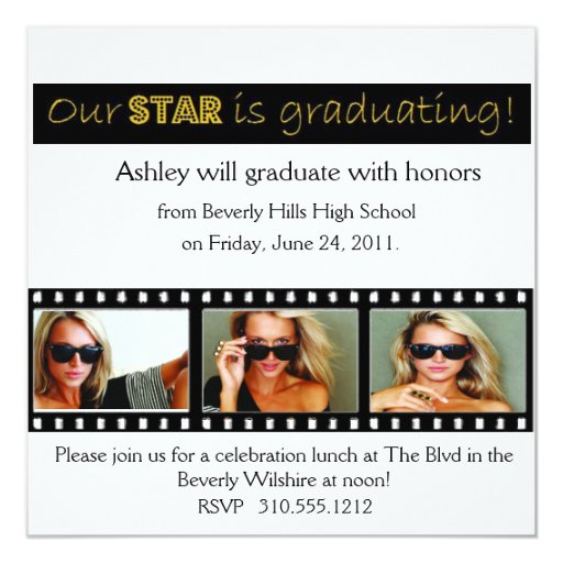 """Graduation Announcement Hollywood Star Gold 5.25"""" Square Invitation Card"""
