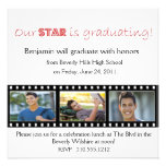Graduation Announcement Hollywood Star Red