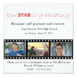 """Graduation Announcement Hollywood Star Red 5.25"""" Square Invitation Card"""