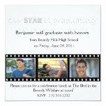 "Graduation Announcement Hollywood Star Silver 5.25"" Square Invitation Card"