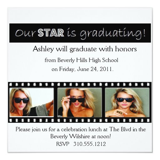 Graduation Announcement Hollywood Star White