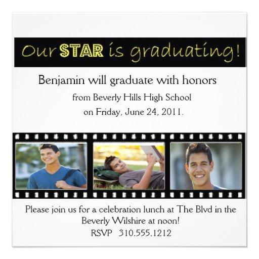 Graduation Announcement Hollywood Star Yellow