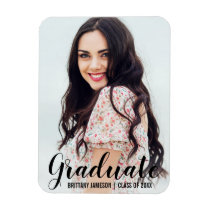 Graduation Announcement Modern Photo Magnet BL