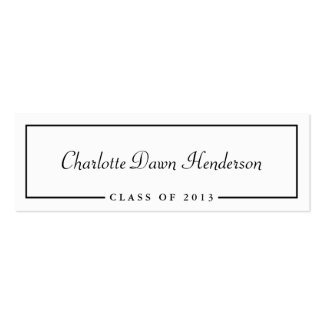 Graduation announcement name card border Class of Double-Sided Mini Business Cards (Pack Of 20)