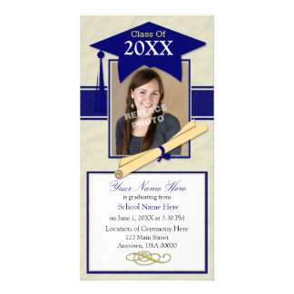 Graduation Announcement Photo Card - Blue & White