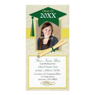 Graduation Announcement Photo Card-Green & Yellow