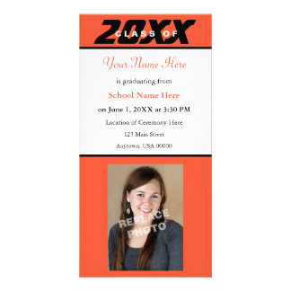 Graduation Announcement Photo Card-Orange & Black