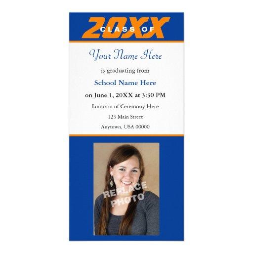 Graduation Announcement Photo Card-Orange & Blue