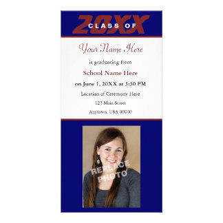 Graduation Announcement Photo Card-Red and Blue