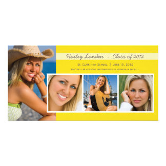 Graduation Announcement Photo Cards Yellow