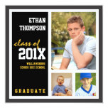 "Graduation Announcement with 3 Photos Black Gold 5.25"" Square Invitation Card"