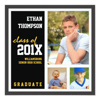 "Graduation Announcement with 3 Photos Black Gold 5.25"" Square Invitation Card"