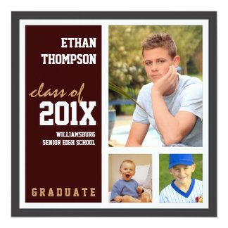 Graduation Announcement with 3 Photos Brown