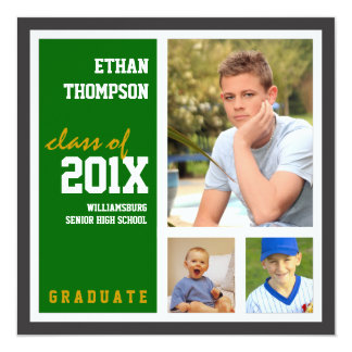 "Graduation Announcement with 3 Photos Green 5.25"" Square Invitation Card"