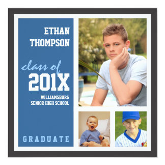 "Graduation Announcement with 3 Photos in Blue 5.25"" Square Invitation Card"
