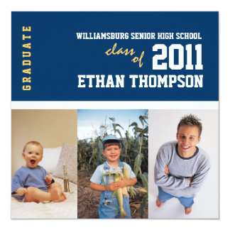 Graduation Announcement with 3 Photos in Navy