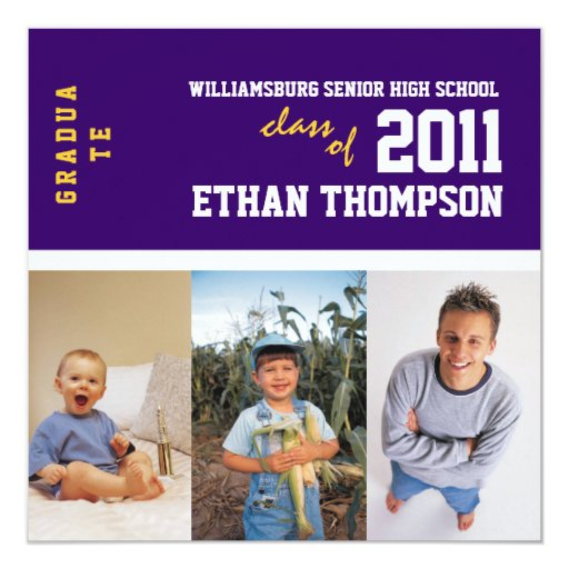 "Graduation Announcement with 3 Photos in Purple 5.25"" Square Invitation Card"