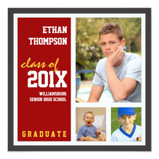 Graduation Announcement with 3 Photos in Red