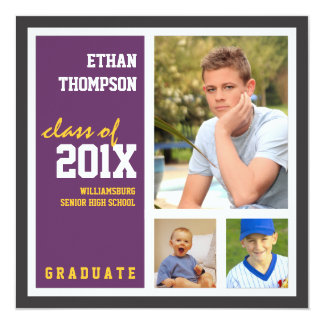 "Graduation Announcement with 3 Photos Purple Gold 5.25"" Square Invitation Card"