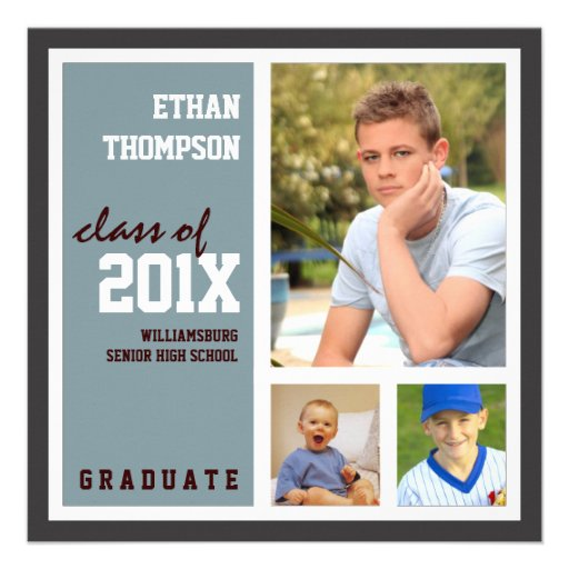 Graduation Announcement with 3 Photos Steel Blue