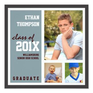 Graduation Announcement with 3 Photos Steel Blue