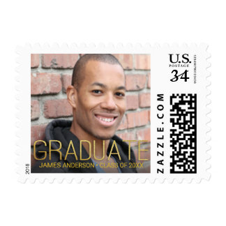 Graduation Announcement with Photo and Gold Text Postage