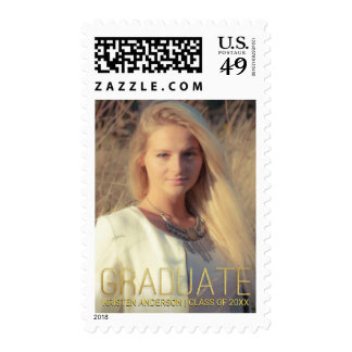 Graduation Announcement with Photo Gold Lettering Postage