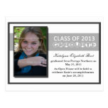 Graduation announcement with Ribbon 7 in grey Postcard