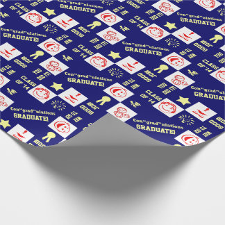 Graduation Any Year 4 Pictures & Text Template Wrapping Paper