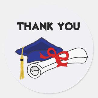Graduation Art Thank You Round Sticker