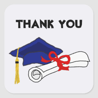 Graduation Art Thank You Square Sticker