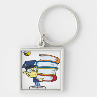 Graduation Asian Boy Silver-Colored Square Keychain