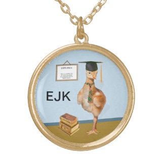 Graduation, Baby Sandhill Crane, Monogram Round Pendant Necklace