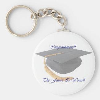 Graduation Basic Round Button Keychain