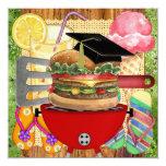 "Graduation BBQ Cook Out ! SRF 5.25"" Square Invitation Card"
